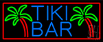Blue Tiki Bar Palm Tree With Red Border Neon Sign