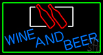Blue Wine Beer Bottle With Green Border Neon Sign
