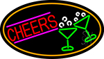Cheers And Wine Glass Oval With Orange Border Neon Sign