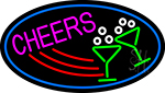 Cheers With Wine Glass Oval With Blue Border Neon Sign
