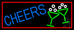 Cheers With Wine Glass With Red Border Neon Sign