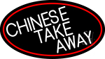 Chinese Take Away Oval With Red Border Neon Sign
