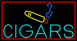 Cigars With Smoke Bar With Red Border Neon Sign