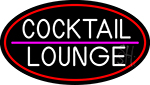 Cocktail Lounge Oval With Red Border LED Neon Sign