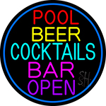 Cocktails Pool Beer Bar Open LED Neon Sign