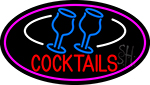 Cocktails With Two Glasses Open Neon Sign