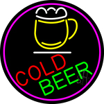 Cold Beer And Mug Oval With Pink Border Neon Sign