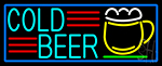 Cold Beer And Mug With Blue Border Neon Sign