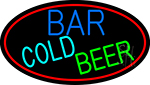 Cold Beer Bar With Red Border Neon Sign