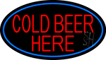 Cold Beer Here With Blue Border Neon Sign