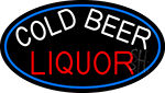 Cold Beer Liquor Oval With Blue Border Neon Sign