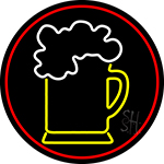 Cold Beer Mug With Red Border Neon Sign