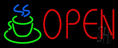 Red Open Coffee Cup Neon Sign