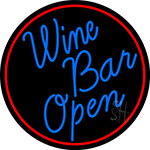 Cursive Blue Wine Bar Open Oval With Red Border Neon Sign