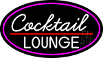Cursive Cocktail Lounge Oval With Pink Border LED Neon Sign