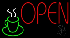 Red Open Coffee Glass Neon Sign