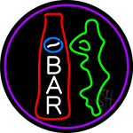 Custom Bar With Bottle And Girl Oval With Purple Border Neon Sign
