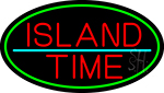 Custom Island Time Oval With Green Border Neon Sign