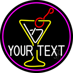 Custom Martini Glass Oval With Pink Border Neon Sign