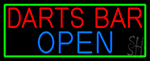 Dart Bar Open With Green Border Neon Sign