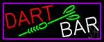 Dart Bar With Purple Border Neon Sign