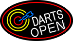 Dart Board Open Oval With Red Border Neon Sign