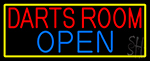 Darts Room Open With Yellow Border Neon Sign