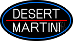 Desert Martini Oval With Blue Border Neon Sign
