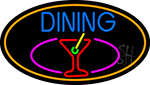 Dining And Martini Glass Oval With Orange Border Neon Sign