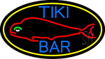 Dolphin Tiki Bar Oval With Yellow Border Neon Sign