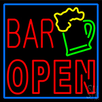 Double Stroke Bar Open With Beer Mug LED Neon Sign