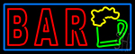 Double Stroke Bar With Beer Mug Blue Border Neon Sign