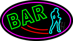 Double Stroke Bar With Girl Neon Sign