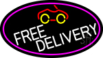 Free Delivery And Car Oval With Pink Border Neon Sign