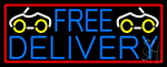 Free Delivery And Car With Red Border Neon Sign