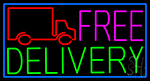 Free Delivery And Van With Blue Border Neon Sign