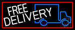 Free Delivery And Van With Red Border Neon Sign