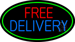 Free Delivery Oval With Green Borders Neon Sign
