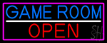 Game Room Open With Pink Border Neon Sign