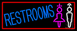 Girls And Boys Restrooms With Red Border LED Neon Sign