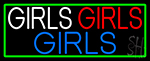Girls Girls Girls Strip With Turquoise Border Neon Sign