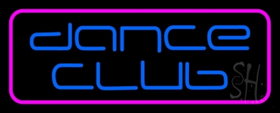 Blue Dance Club Pink Border Neon Sign