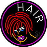 Hair Girl Logo Neon Sign