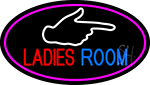 Ladies Room And Hand Pointing Oval With Pink Border LED Neon Sign