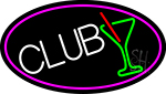 Martini Glass Club Oval With Pink Border Neon Sign