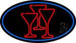 Martini Glasses Oval With Blue Border Neon Sign