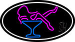 Martini Glass Girl Oval With White Border Neon Sign