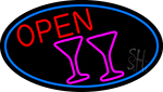 Martini Glass Open Oval With Blue Border Neon Sign