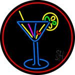 Martini Glass Oval With Red Border LED Neon Sign