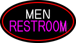 Men Restroom Oval With Red Border LED Neon Sign